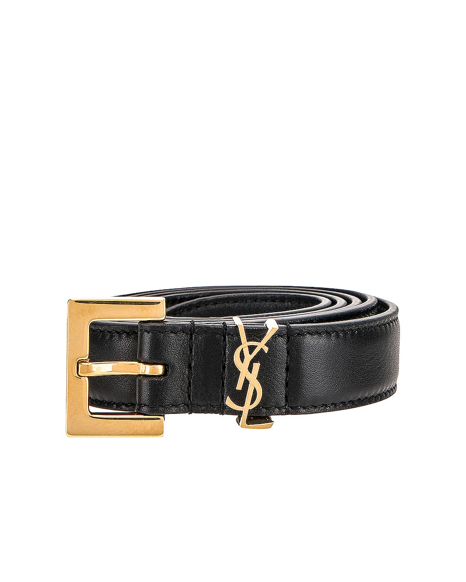 Image 1 of Saint Laurent Leather Monogramme Belt in Black