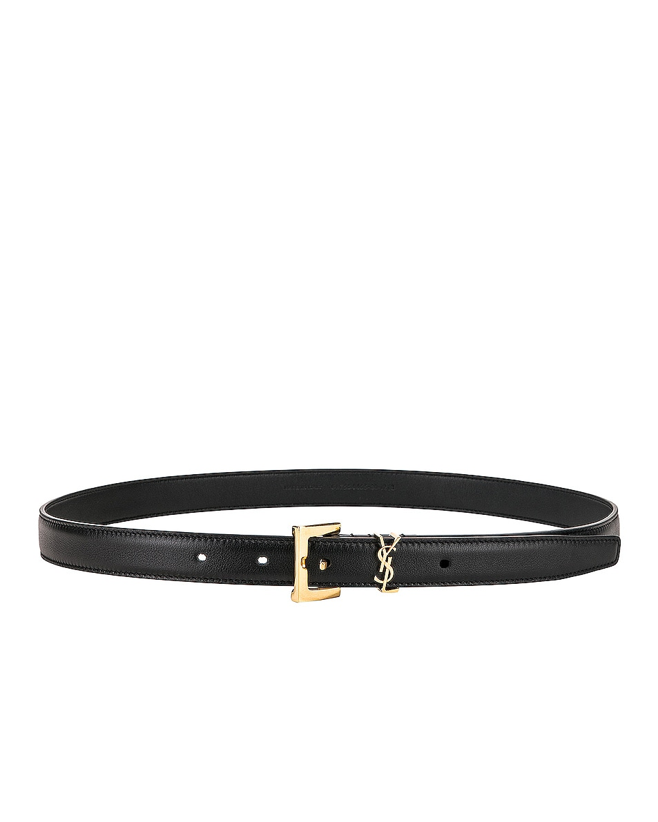 Image 2 of Saint Laurent Leather Monogramme Belt in Black