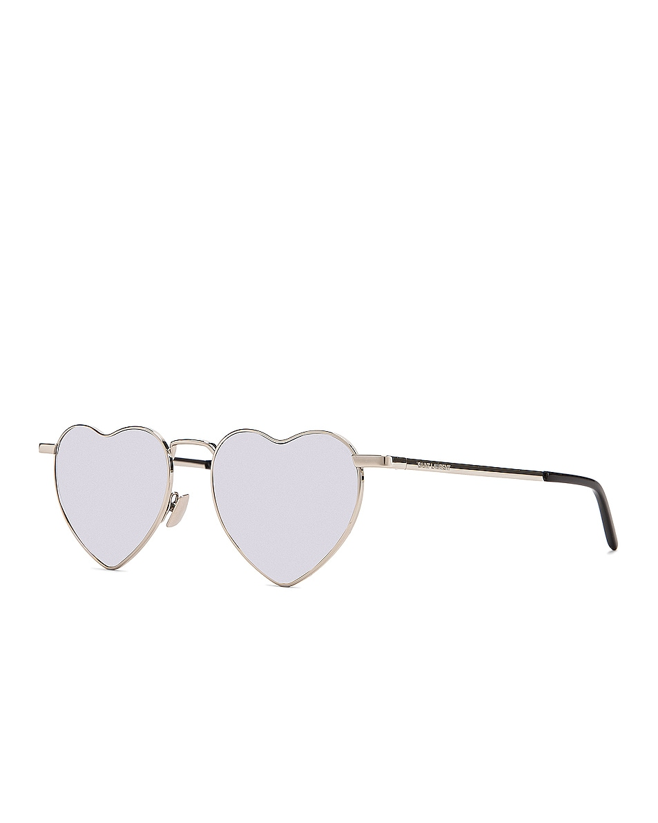Image 2 of Saint Laurent Loulou Sunglasses in Shiny Silver