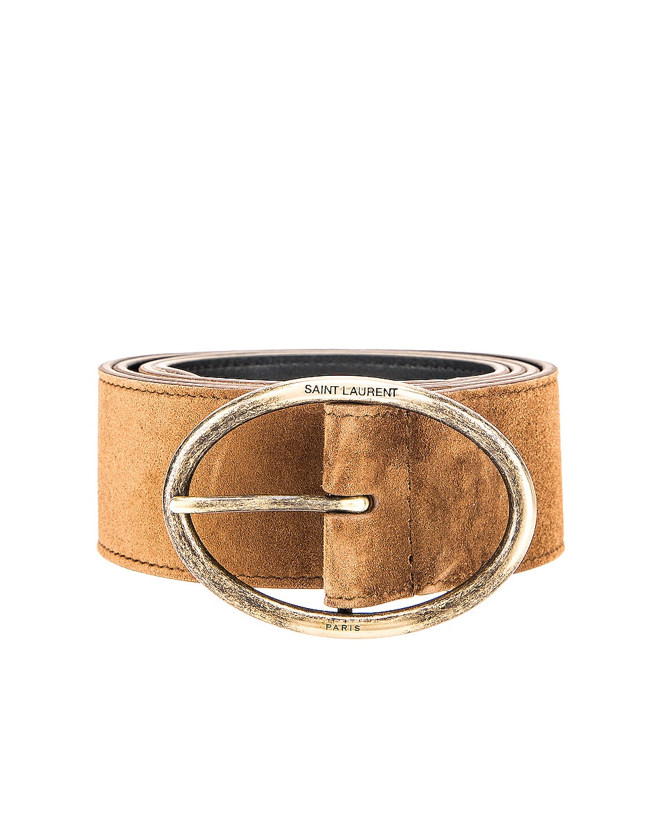 Image 1 of Saint Laurent Oval Buckle Belt in Land