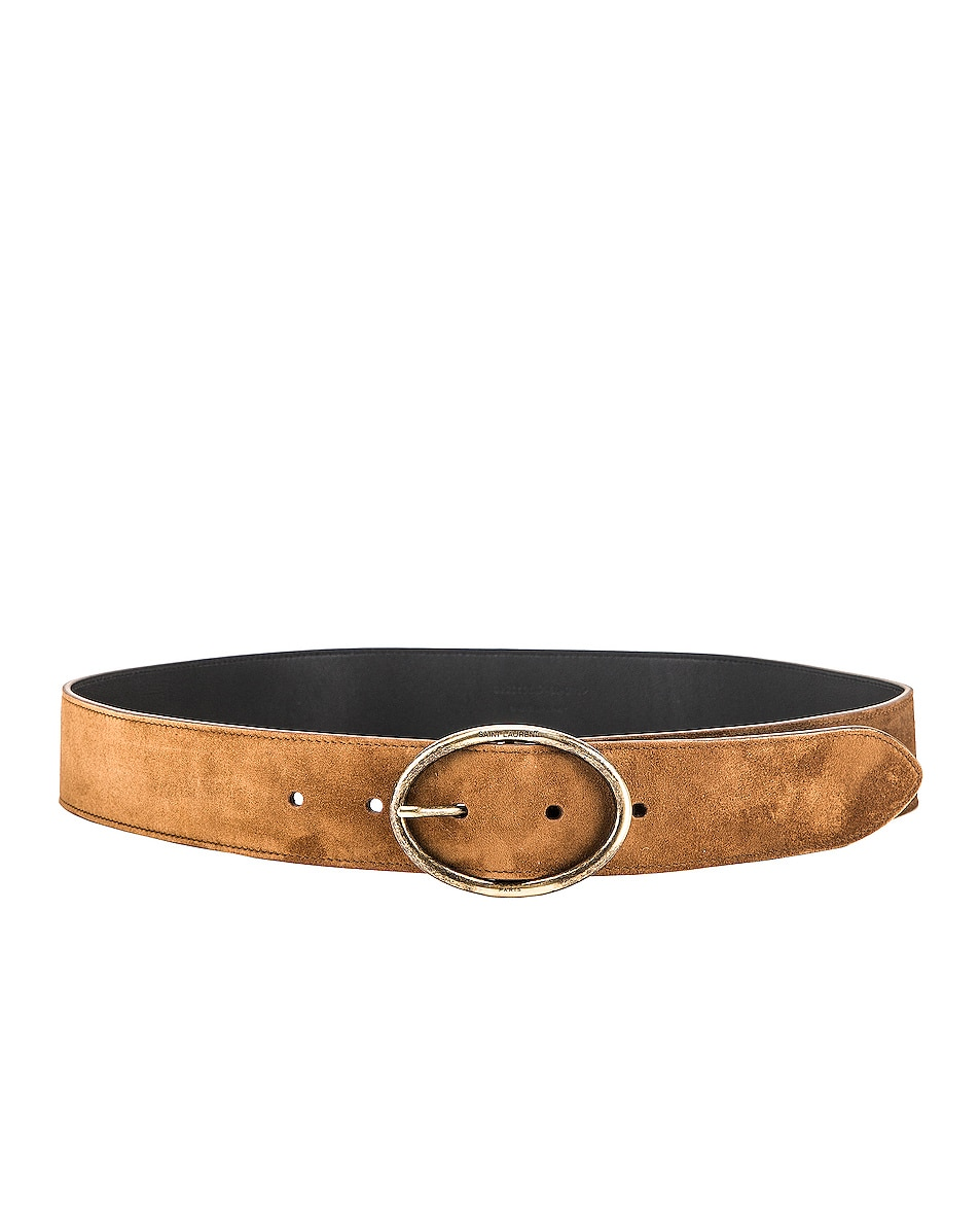 Image 2 of Saint Laurent Oval Buckle Belt in Land