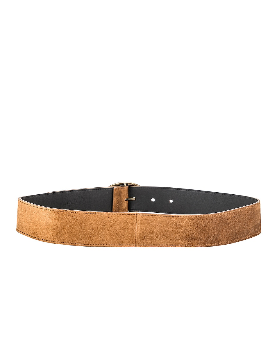 Image 3 of Saint Laurent Oval Buckle Belt in Land