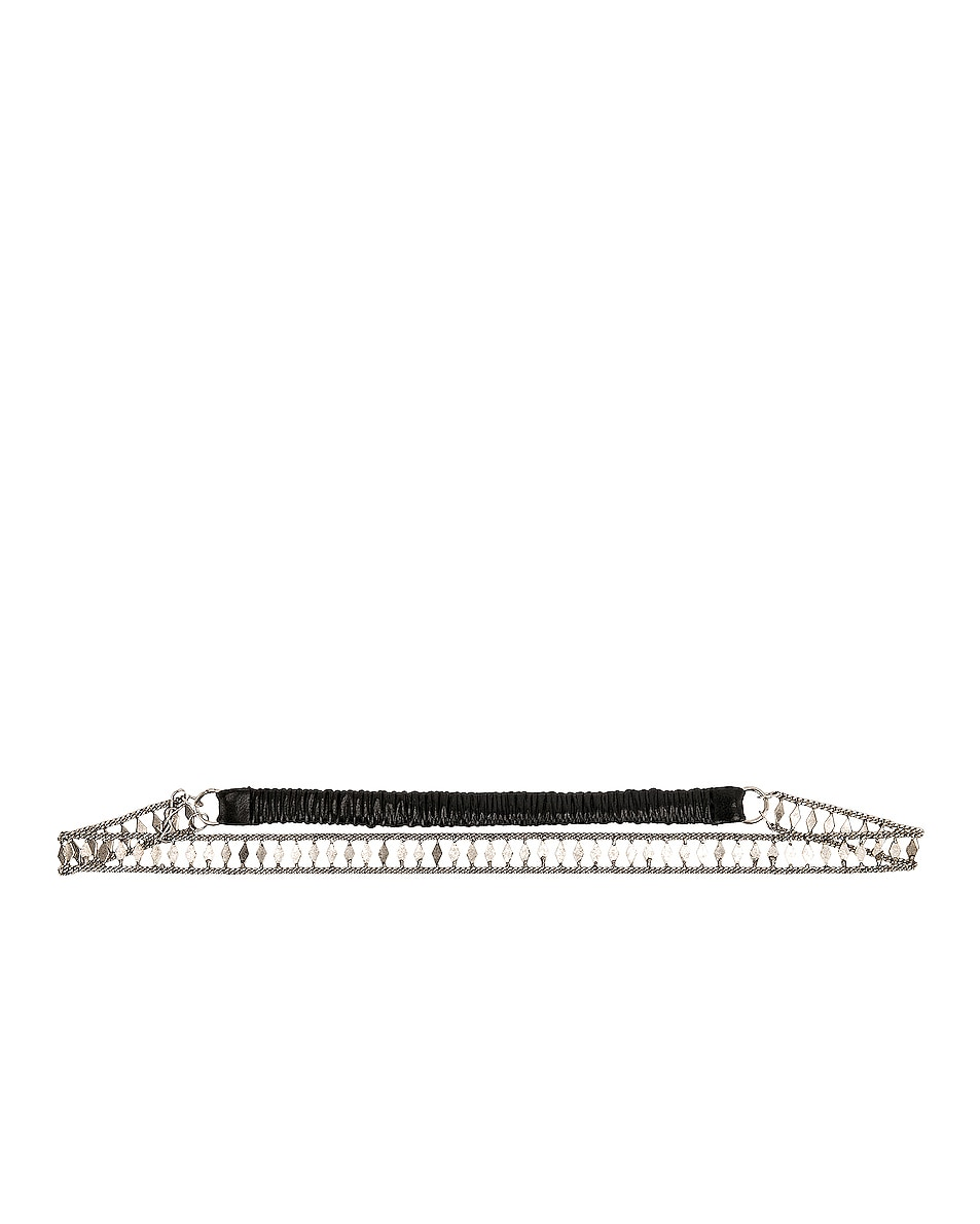 Image 1 of Saint Laurent Crystal Headband in Black & Silver