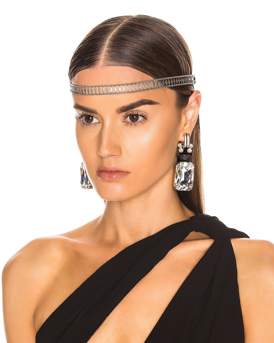 Image 2 of Saint Laurent Crystal Headband in Black & Silver