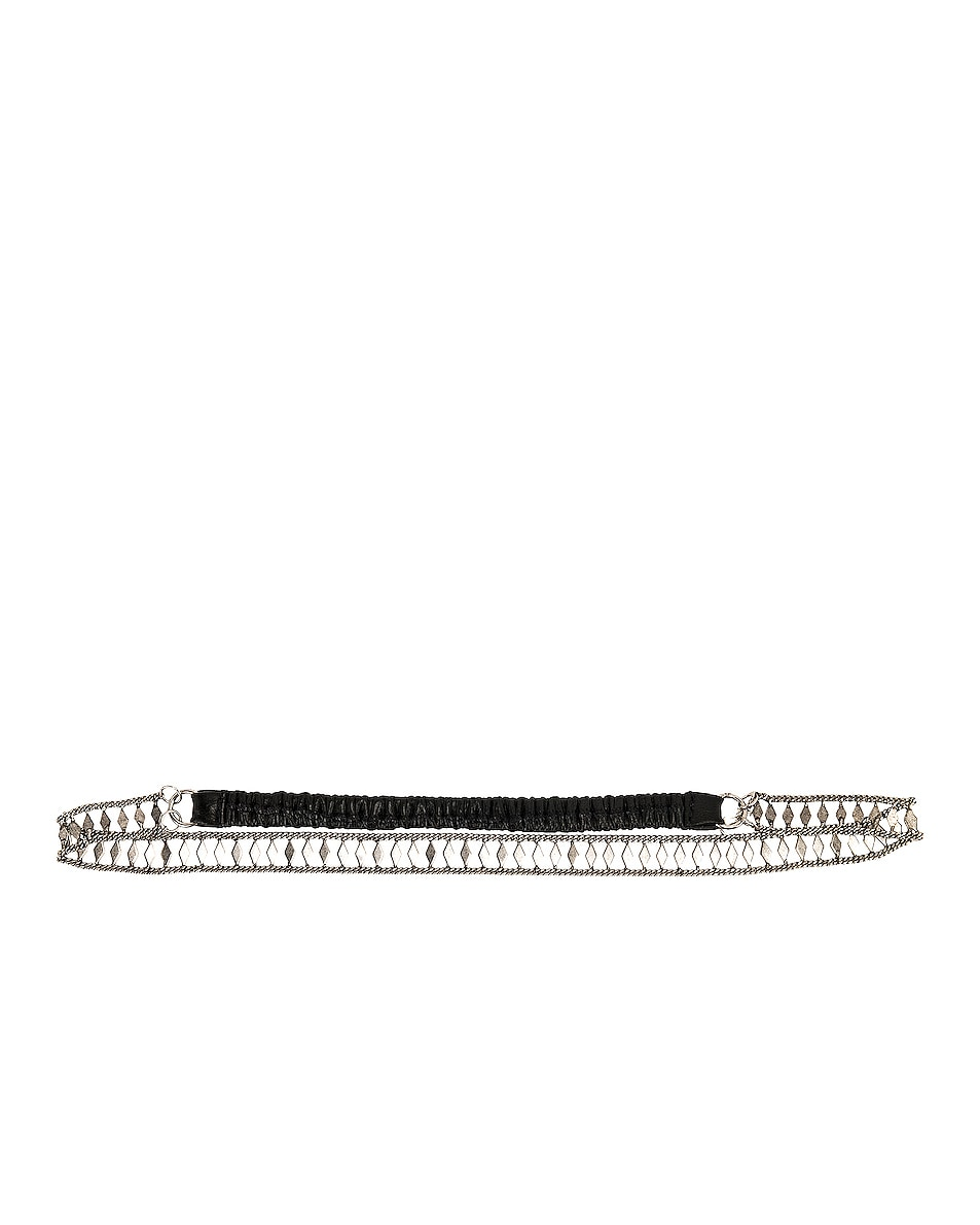Image 4 of Saint Laurent Crystal Headband in Black & Silver