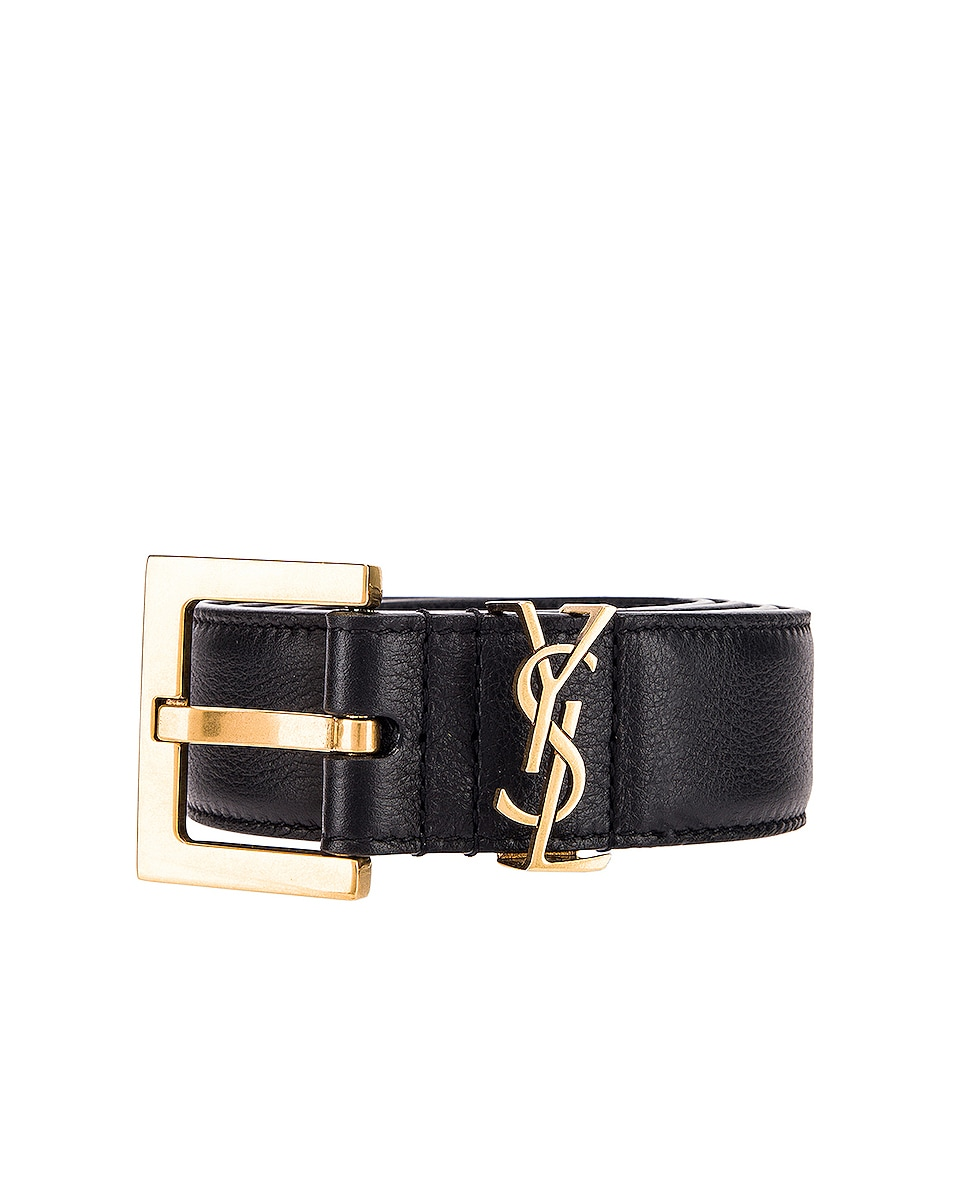 Image 1 of Saint Laurent Mongramme Leather Belt in Black