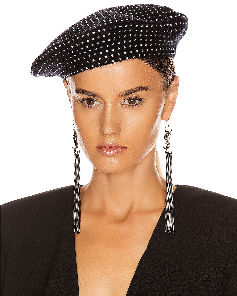 Image 2 of Saint Laurent Studs Beret in Black & White