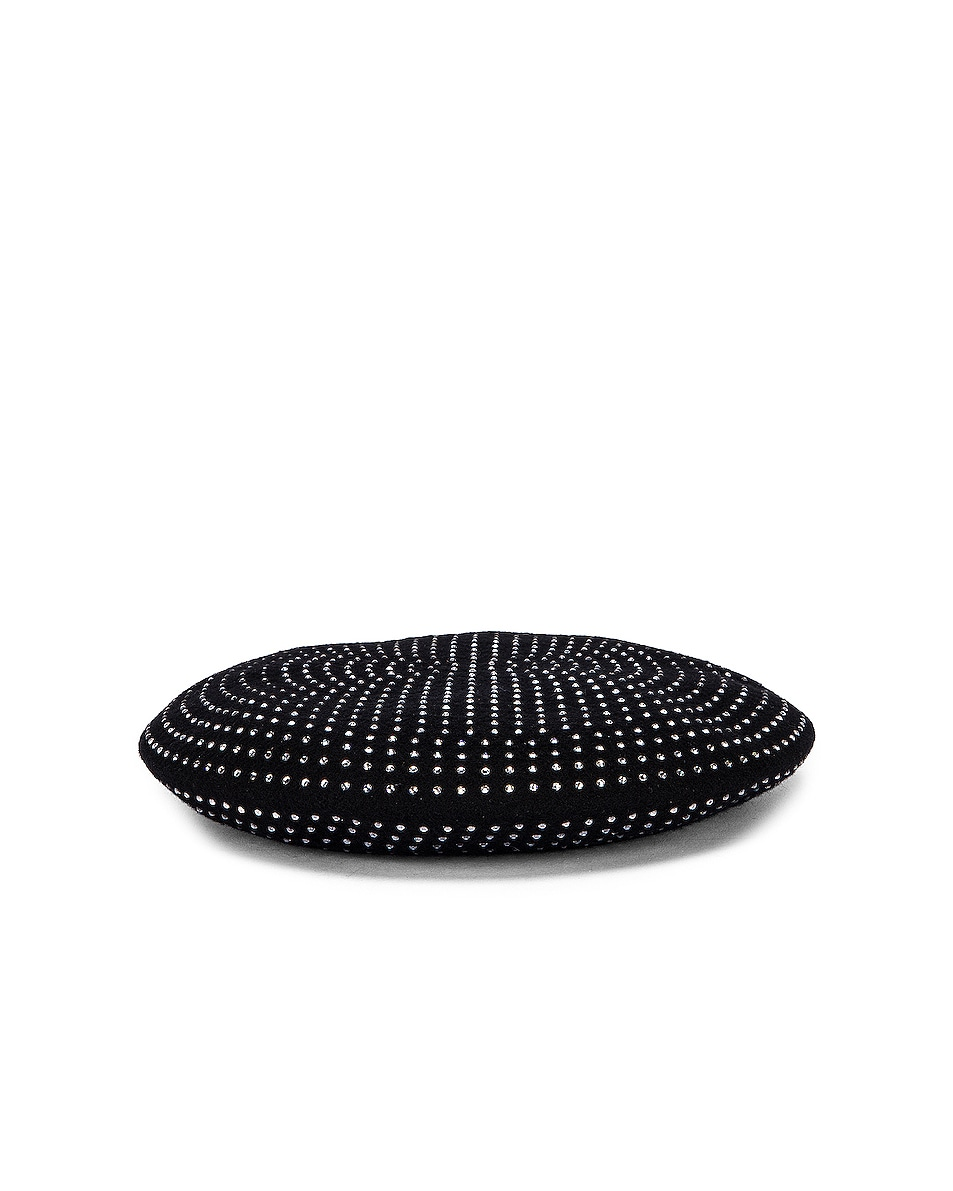 Image 3 of Saint Laurent Studs Beret in Black & White