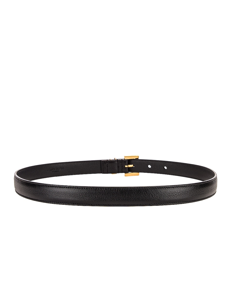 Image 2 of Saint Laurent Logo Leather Belt in Black