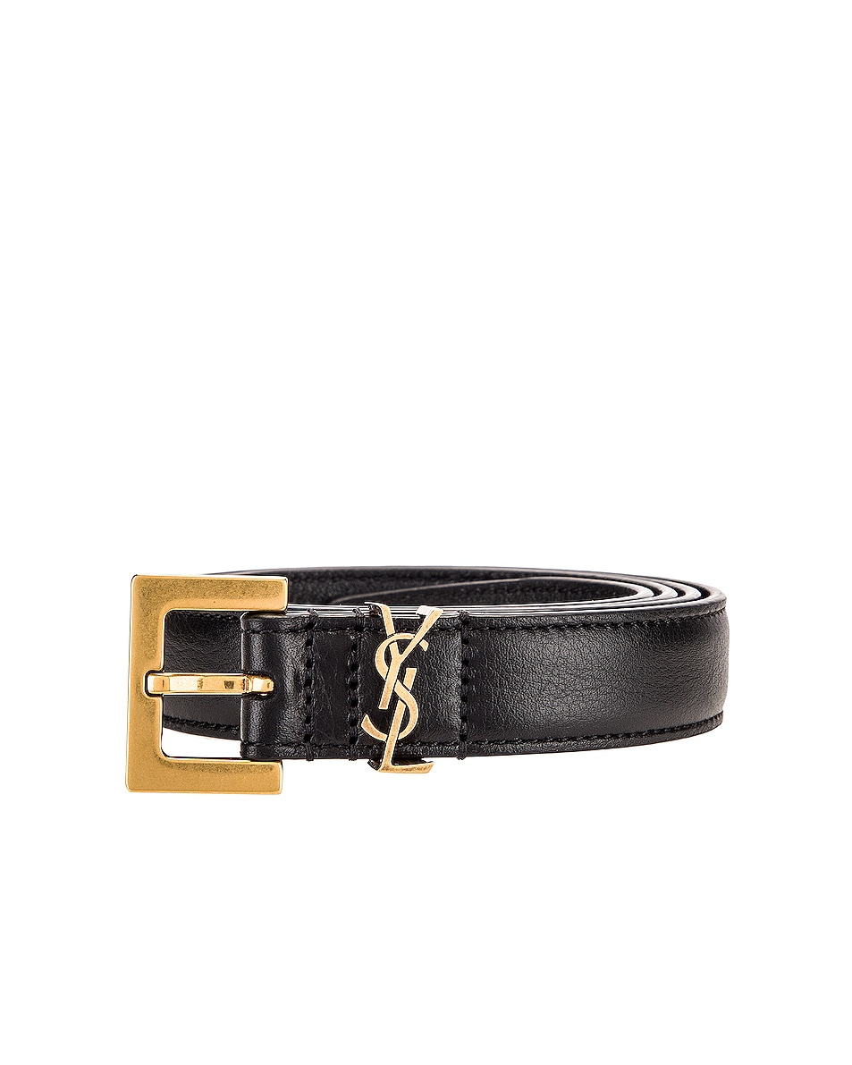 Image 3 of Saint Laurent Logo Leather Belt in Black