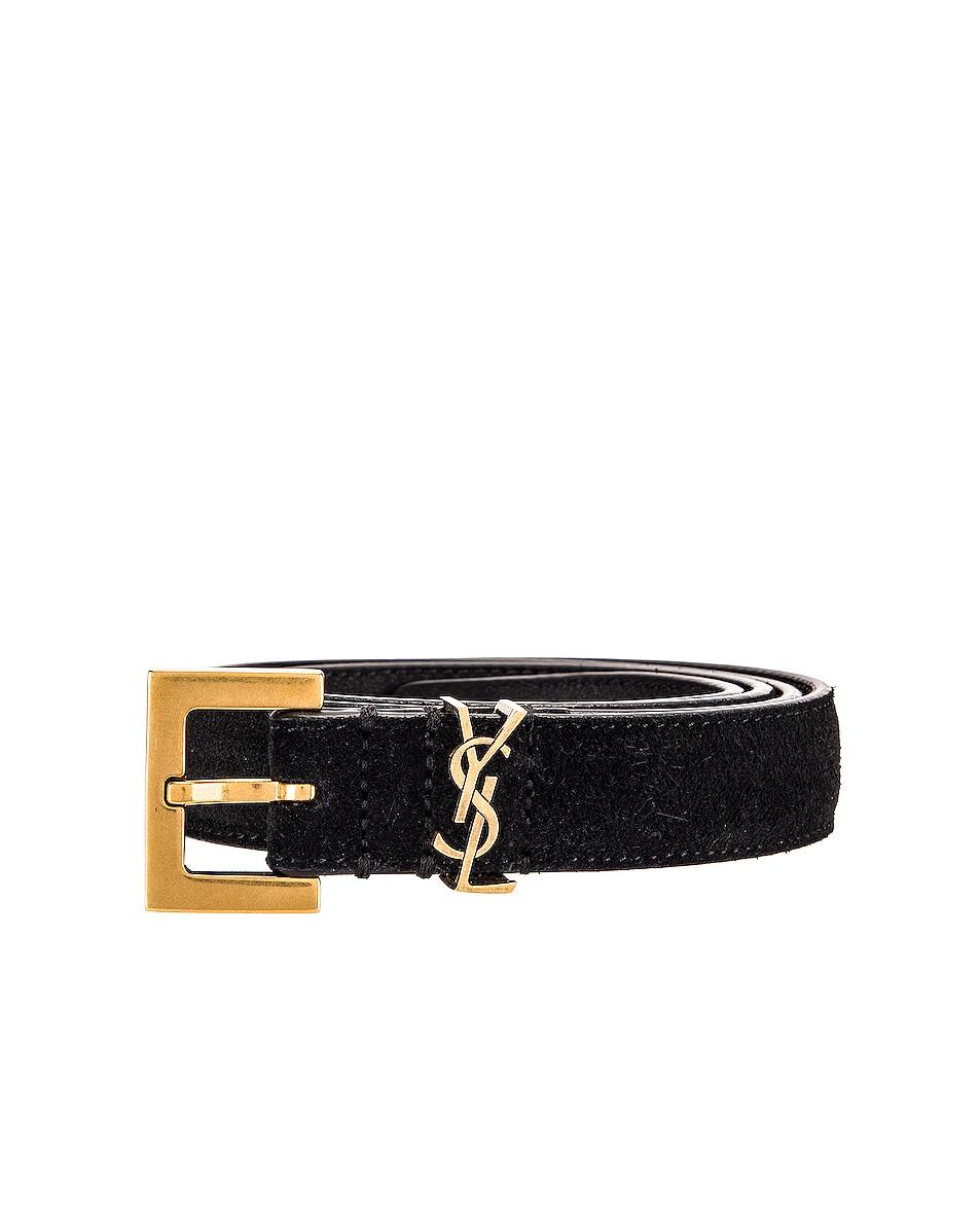 Image 3 of Saint Laurent Light Suede Belt in Black