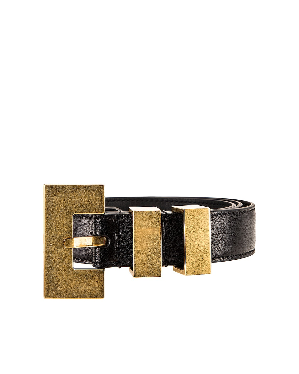 Image 1 of Saint Laurent Leather Belt in Black