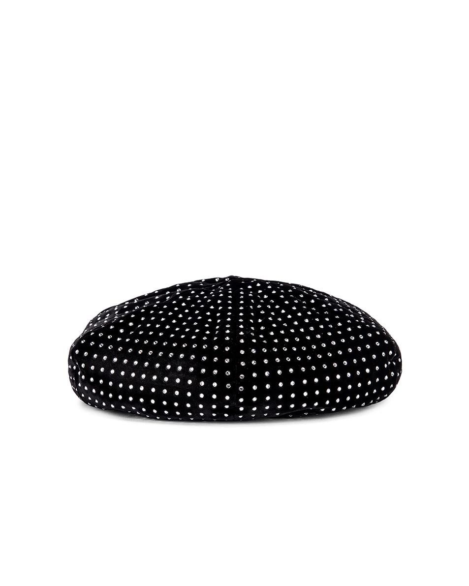 Image 1 of Saint Laurent Crystal Beret in Black & White