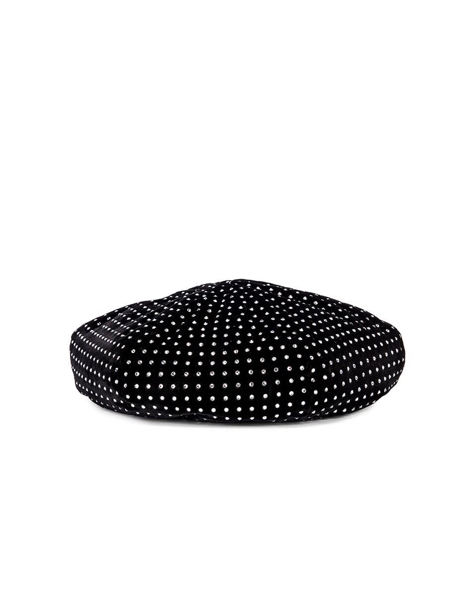 Image 2 of Saint Laurent Crystal Beret in Black & White