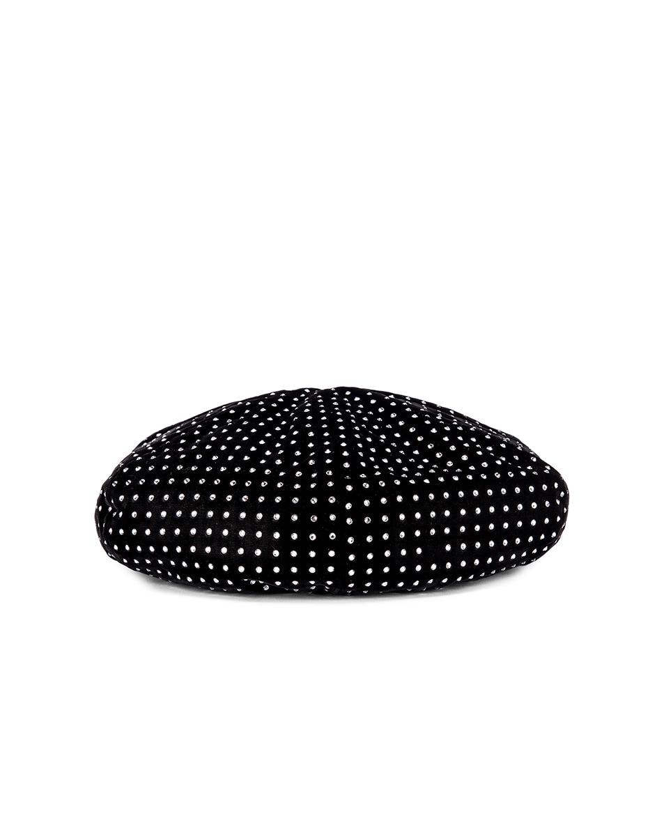 Image 4 of Saint Laurent Crystal Beret in Black & White
