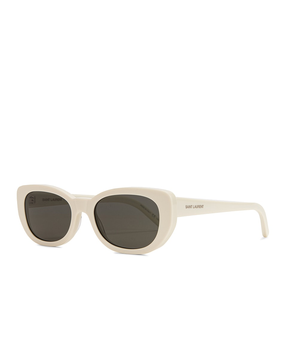 Image 2 of Saint Laurent Betty Vintage Sunglasses in Shiny Ivory & Grey