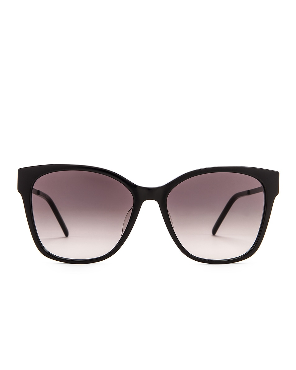 Image 1 of Saint Laurent Square Sunglasses in Shiny Black & Smoke