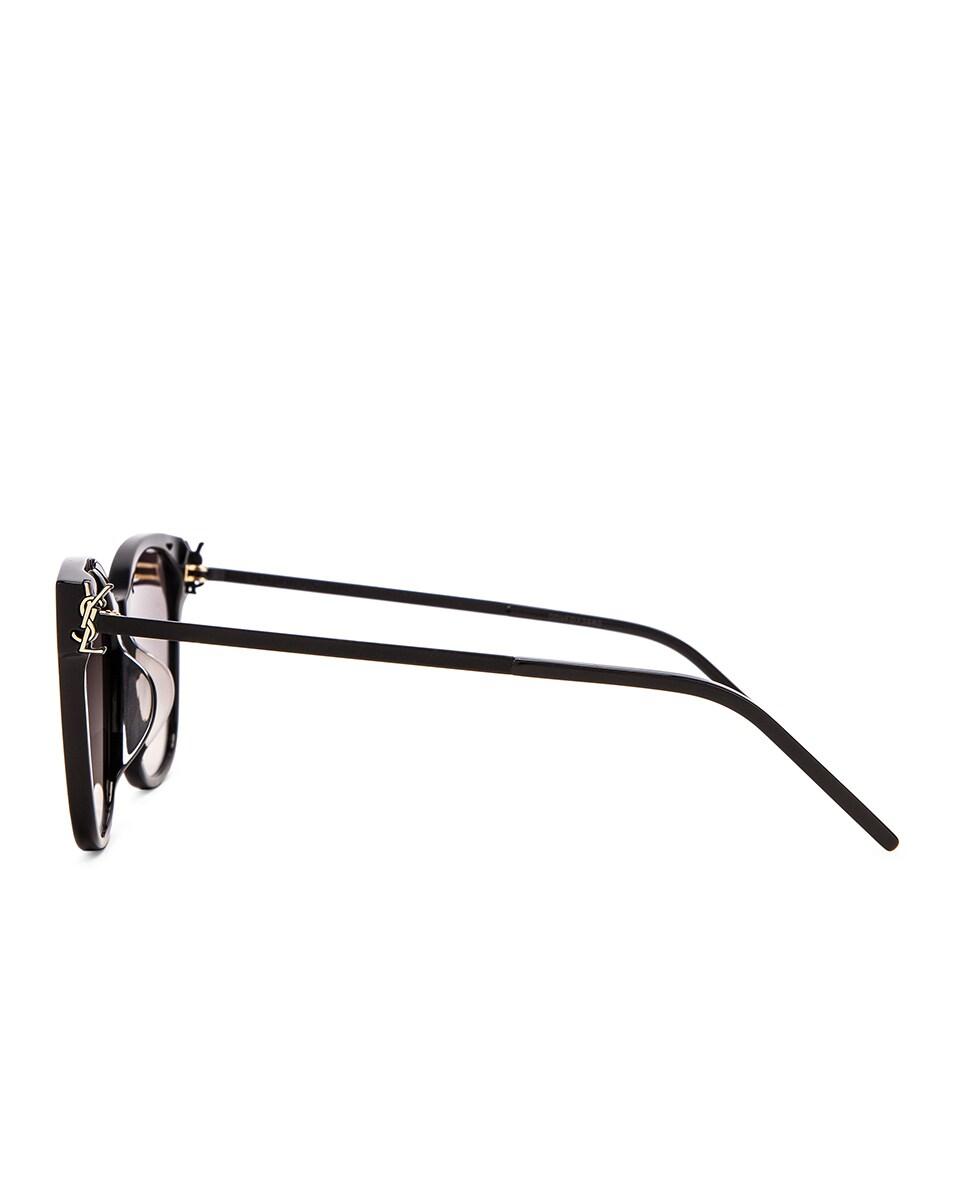 Image 3 of Saint Laurent Square Sunglasses in Shiny Black & Smoke