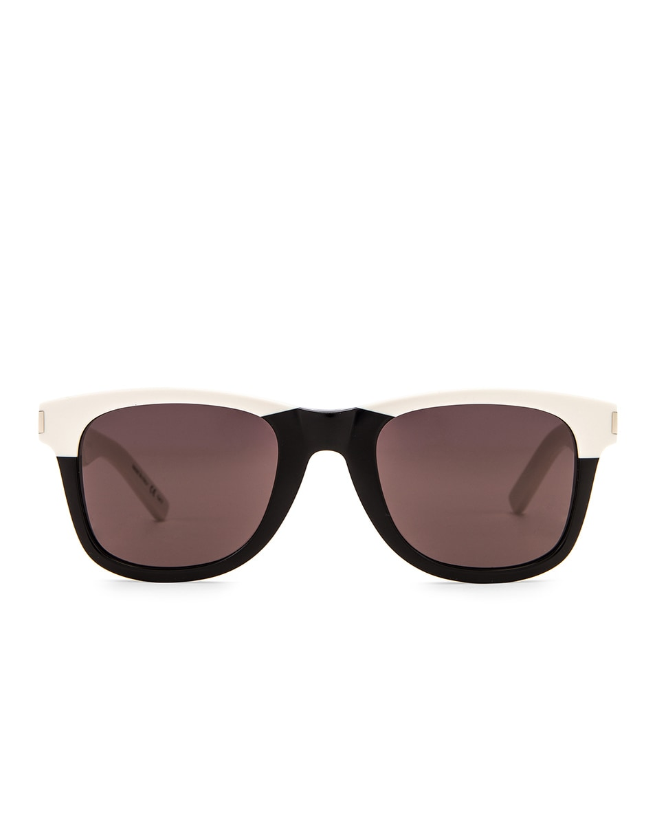 Image 1 of Saint Laurent Square Two Tone Sunglasses in Shiny Black & Ivory