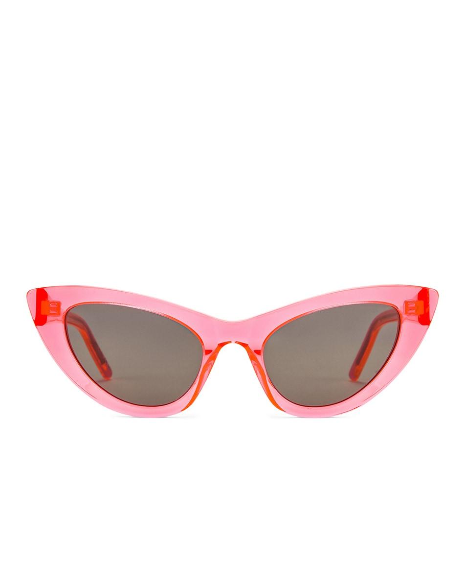 Image 1 of Saint Laurent Lily Cat Eye Glow in the Dark Sunglasses in Fluo Orange & Grey