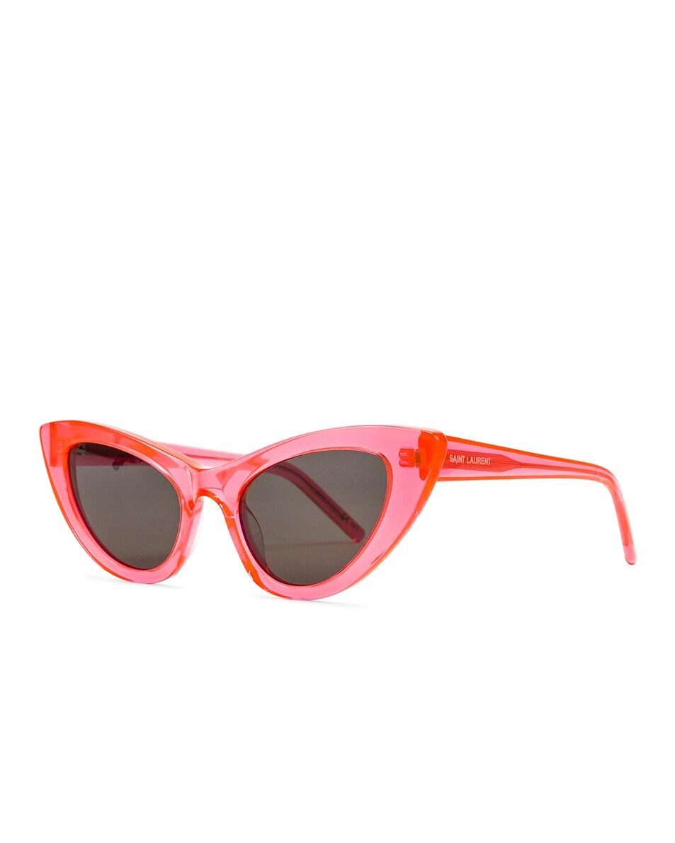 Image 2 of Saint Laurent Lily Cat Eye Glow in the Dark Sunglasses in Fluo Orange & Grey