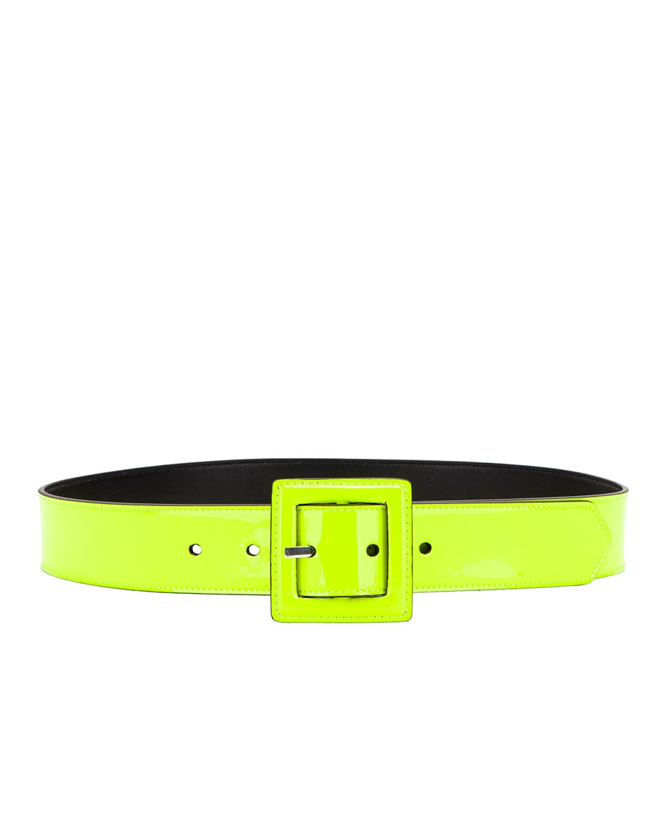 Image 2 of Saint Laurent Patent Leather Belt in Neon Yellow