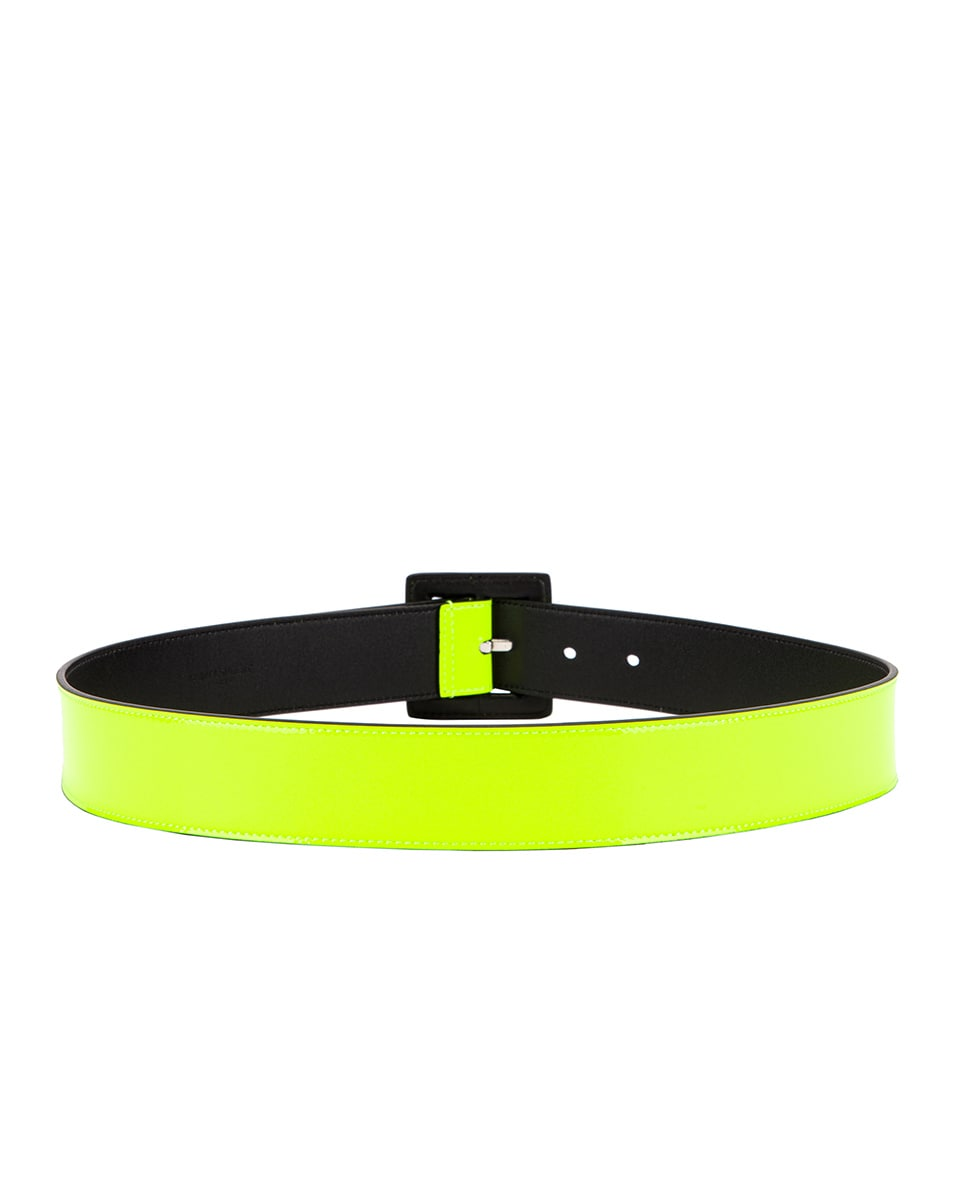 Image 3 of Saint Laurent Patent Leather Belt in Neon Yellow