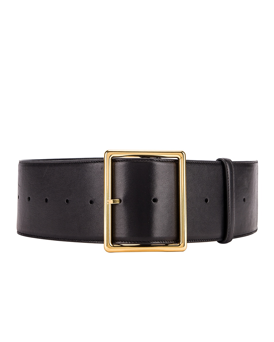 Image 1 of Saint Laurent Wide Leather Belt in Black