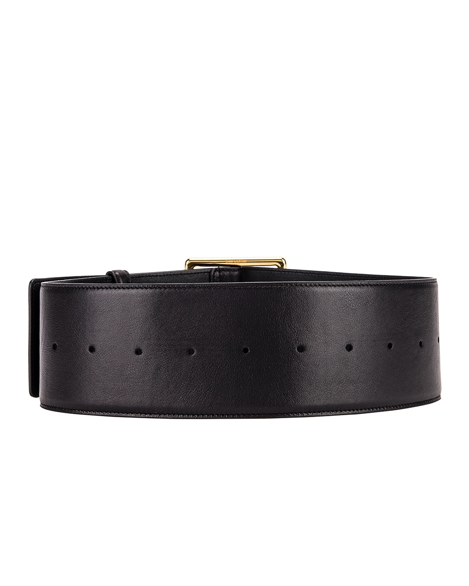 Image 2 of Saint Laurent Wide Leather Belt in Black