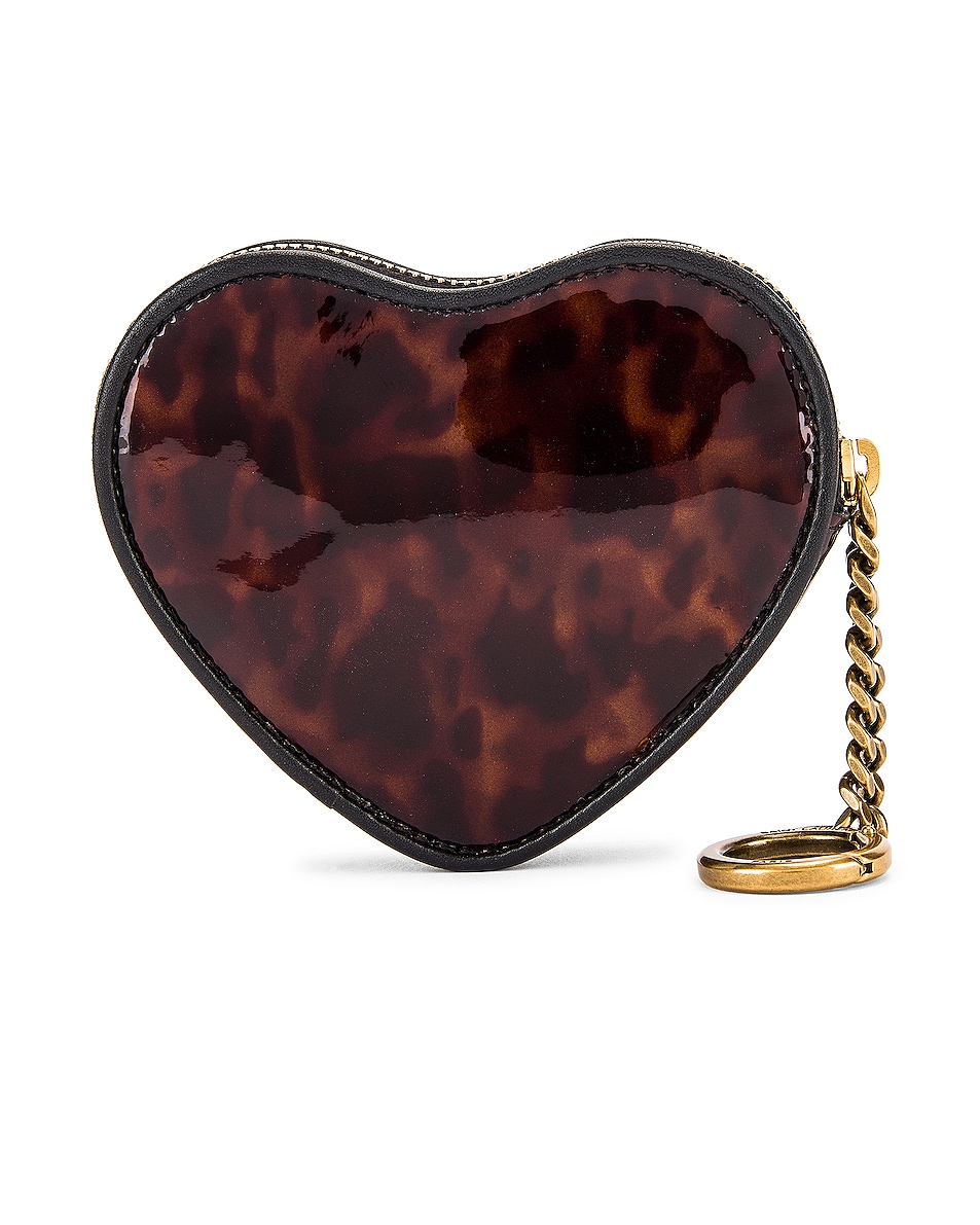 Image 2 of Saint Laurent Heart Pouch Key Ring in Tortoise & Black