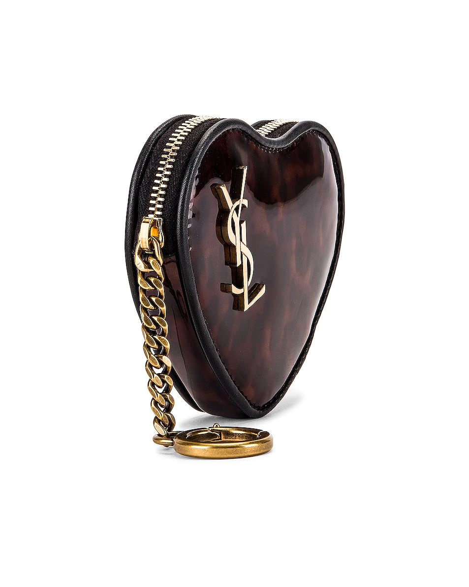 Image 3 of Saint Laurent Heart Pouch Key Ring in Tortoise & Black