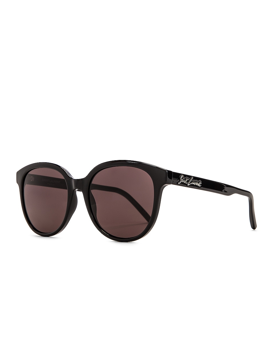 Image 2 of Saint Laurent Round Sunglasses in Shiny Black