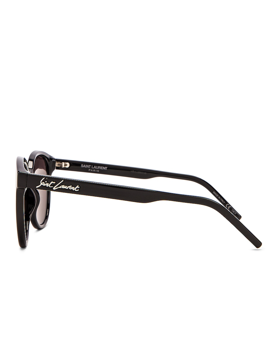Image 3 of Saint Laurent Round Sunglasses in Shiny Black