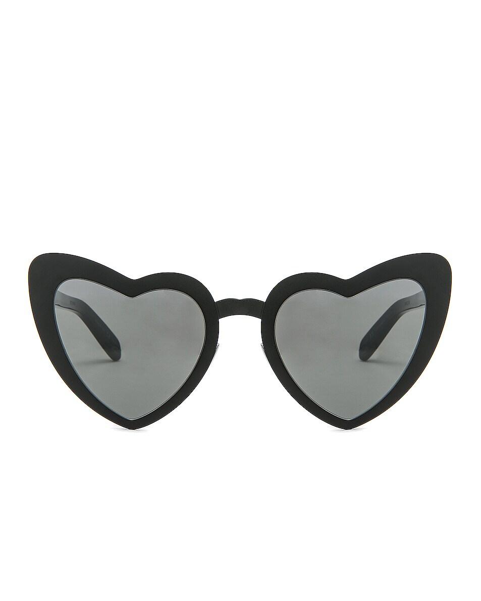 Image 1 of Saint Laurent Lou Lou Heart Sunglasses in Black & Silver Flash