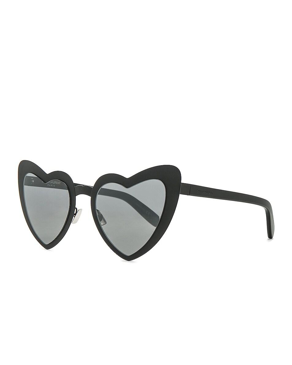 Image 3 of Saint Laurent Lou Lou Heart Sunglasses in Black & Silver Flash