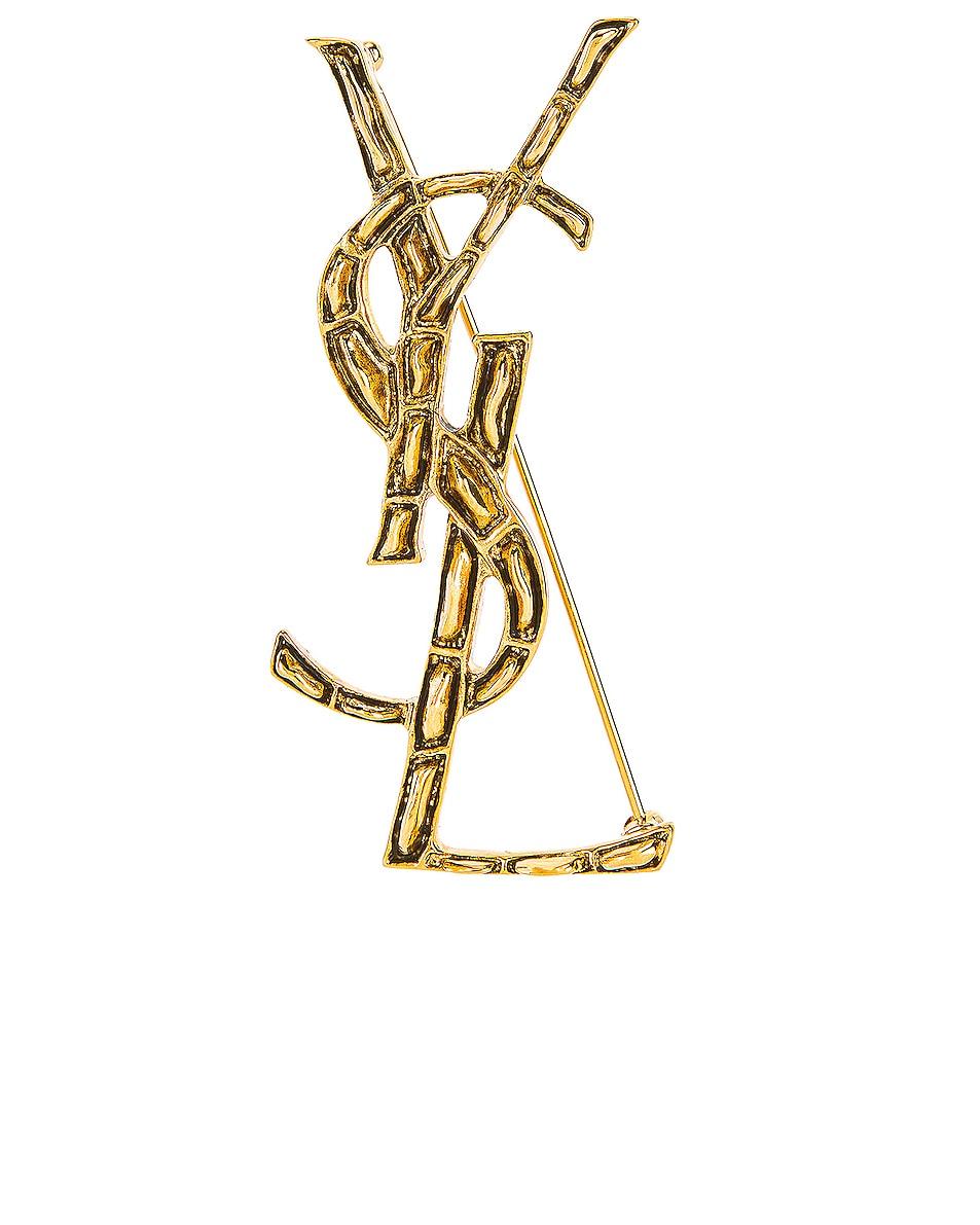 Image 1 of Saint Laurent Textured Crocodile YSL Brooch in Gold