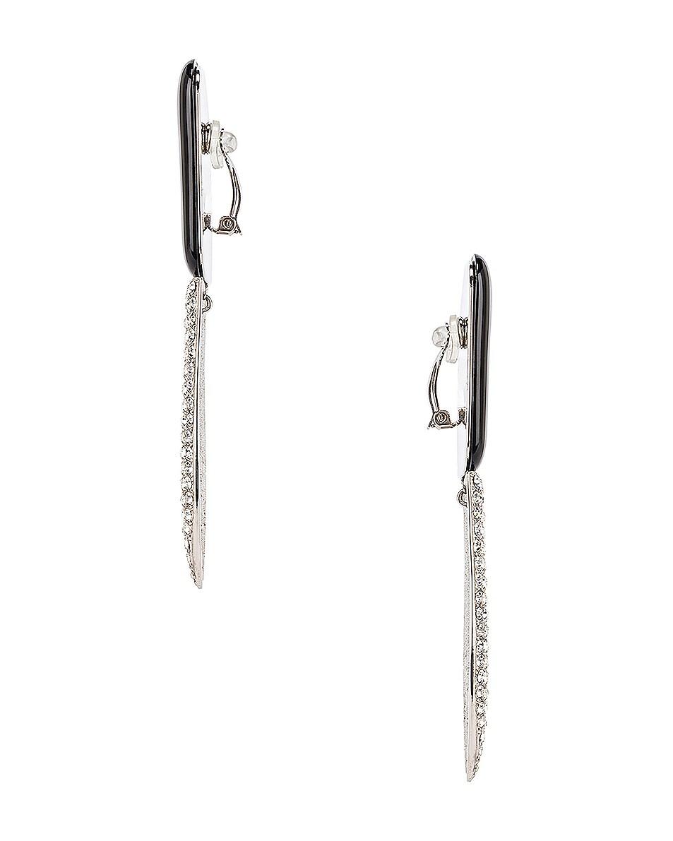 Image 2 of Saint Laurent Crystal Embellished Earrings in Palladium, Black & Crystal