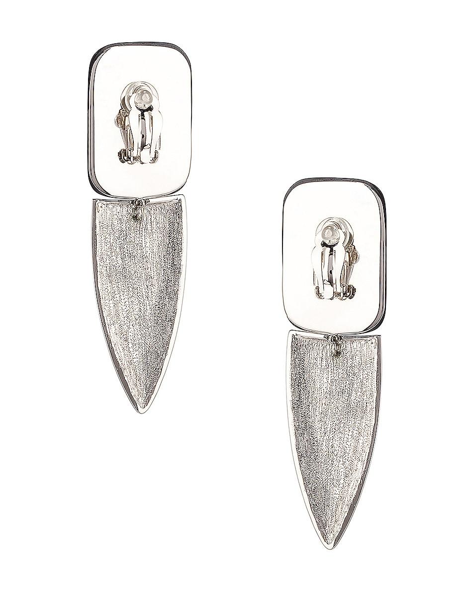Image 3 of Saint Laurent Crystal Embellished Earrings in Palladium, Black & Crystal