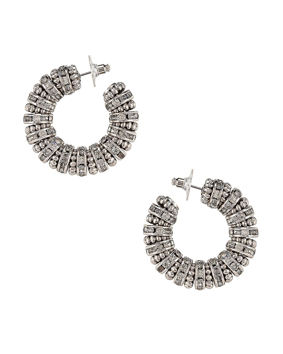 Image 1 of Saint Laurent Embellished Hoop Earrings in Palladium & Crystal