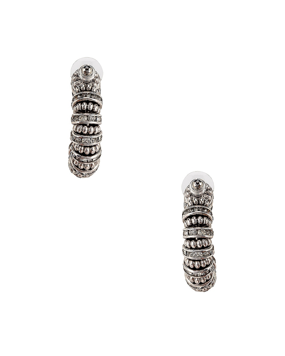 Image 4 of Saint Laurent Embellished Hoop Earrings in Palladium & Crystal