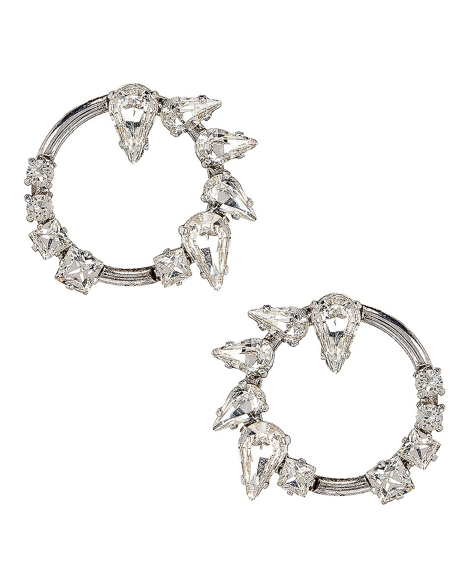 Image 1 of Saint Laurent Embellished Earrings in Palladium & Crystal