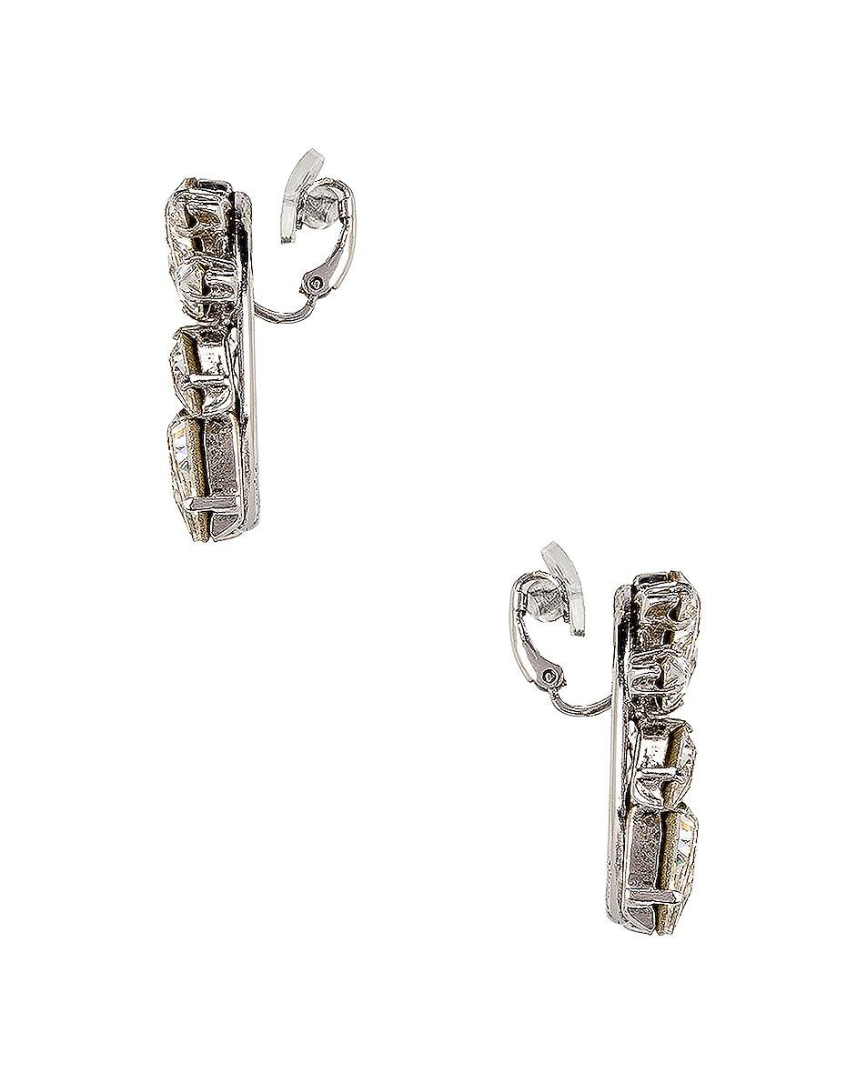 Image 2 of Saint Laurent Embellished Earrings in Palladium & Crystal