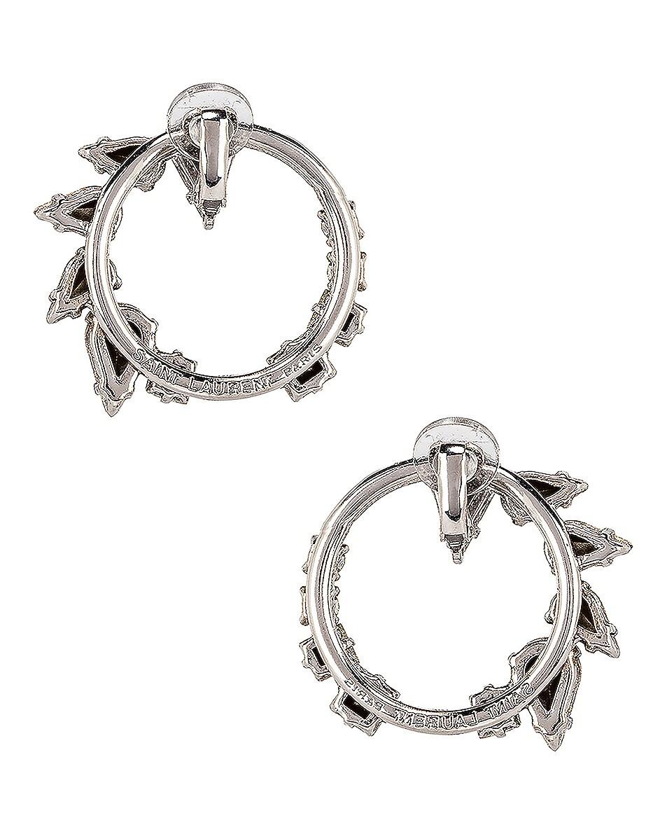 Image 3 of Saint Laurent Embellished Earrings in Palladium & Crystal