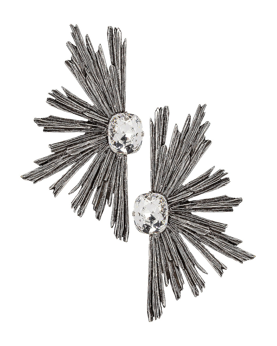 Image 1 of Saint Laurent Statement Clip Earrings in Silver & Crystal