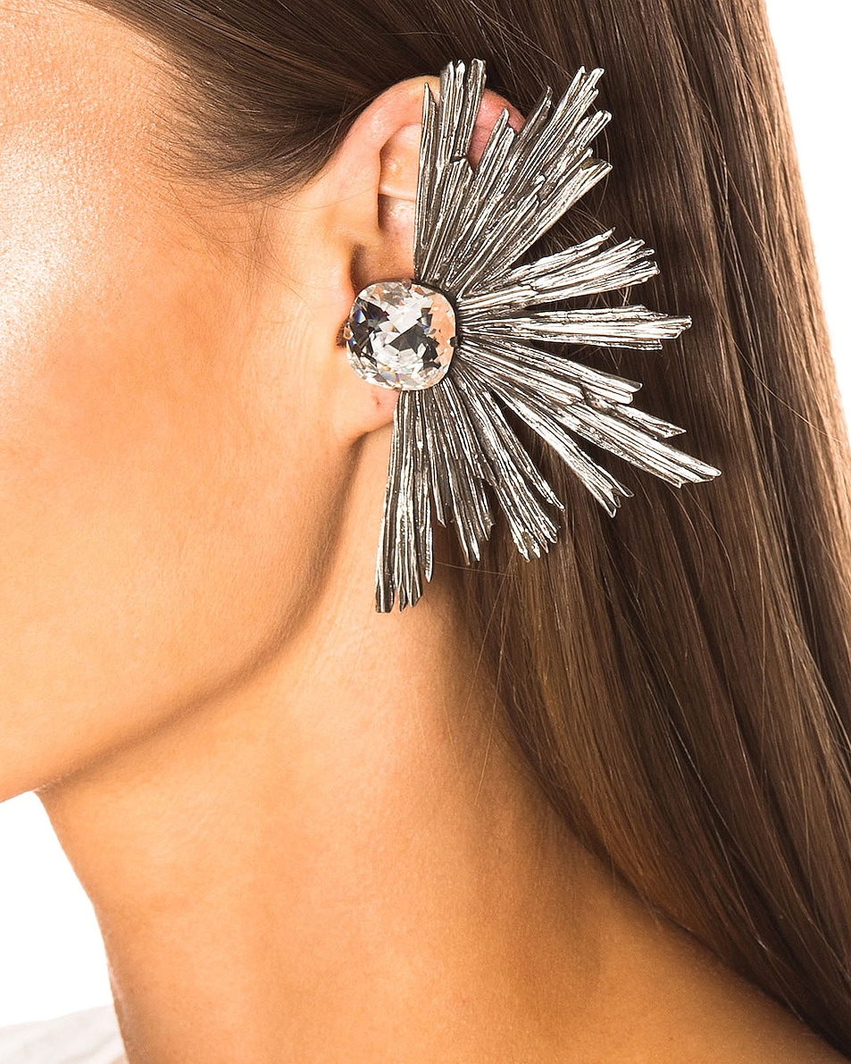 Image 2 of Saint Laurent Statement Clip Earrings in Silver & Crystal