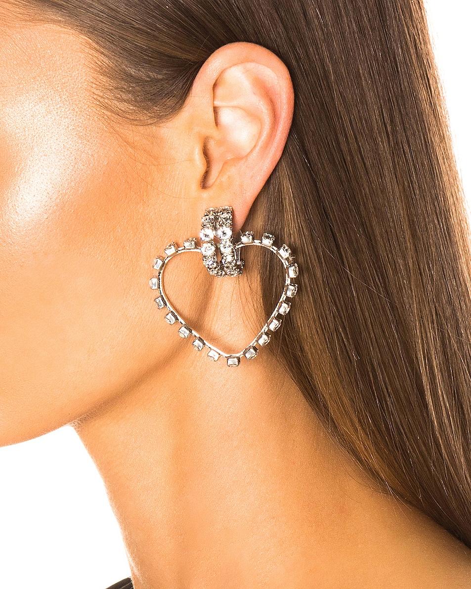 Image 2 of Saint Laurent Heart Clip Earrings in Silver & Crystal