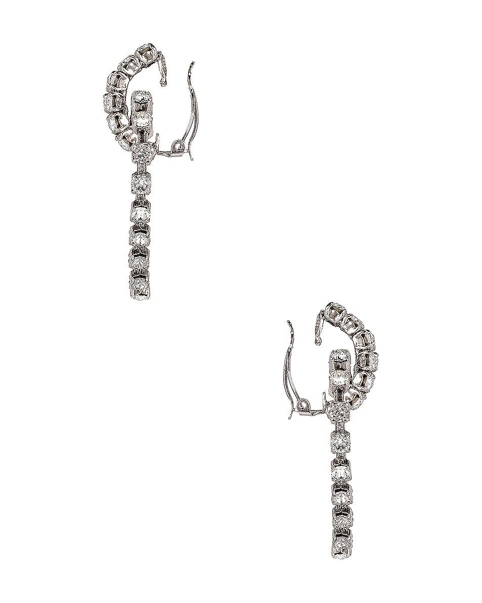 Image 3 of Saint Laurent Heart Clip Earrings in Silver & Crystal