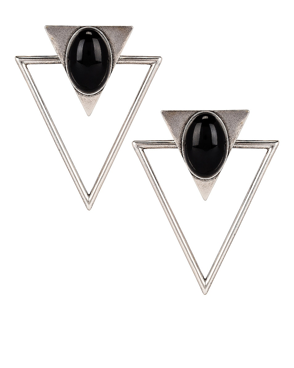 Image 1 of Saint Laurent Triangle Earrings in Silver & Black