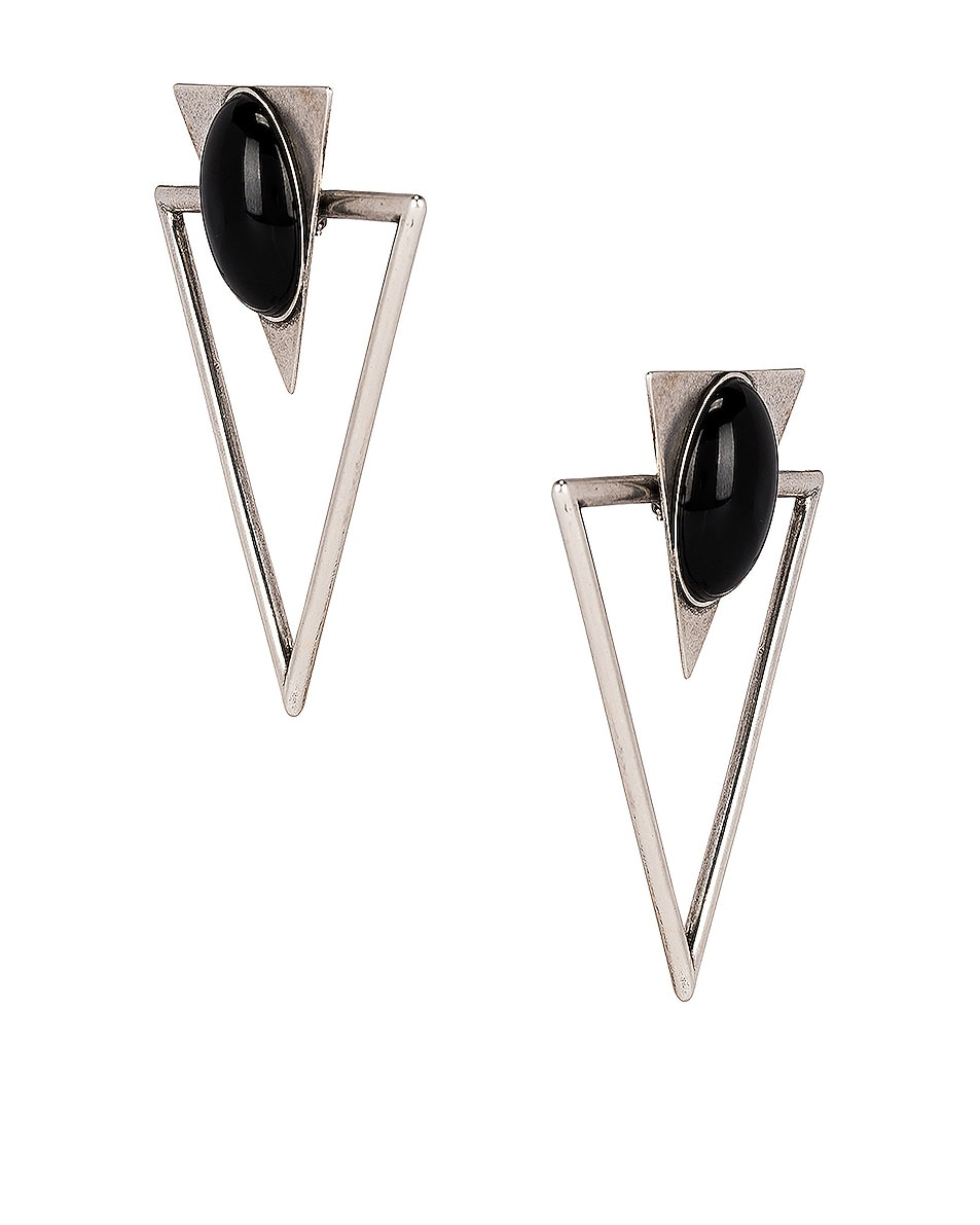 Image 3 of Saint Laurent Triangle Earrings in Silver & Black
