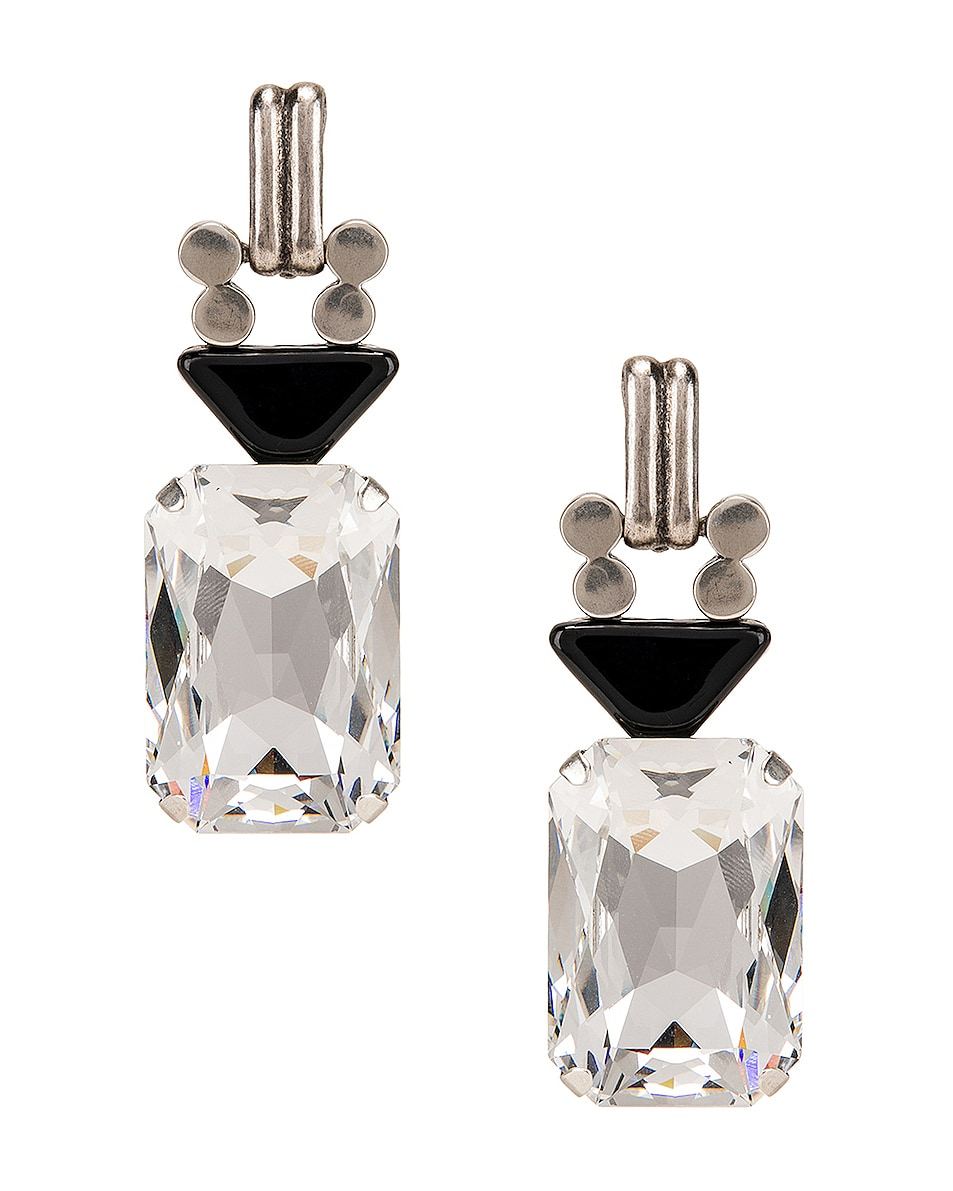 Image 1 of Saint Laurent Crystal Stone Clip Earrings in Silver & Black